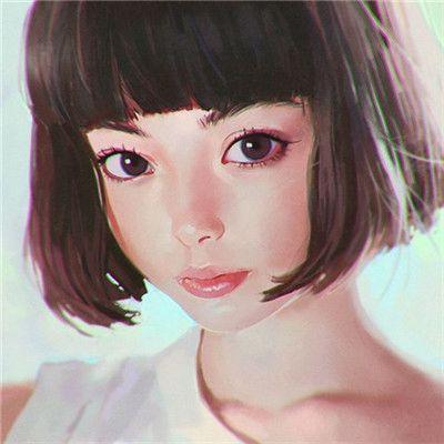 超好看的高清手绘帅气短发女生头像_WWW.QQYA.COM