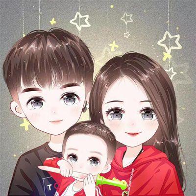 一家三口卡通图片头像_WWW.QQYA.COM