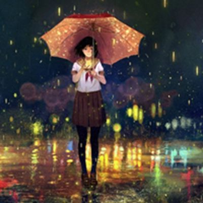 唯美雨中漫画女生头像图片_WWW.QQYA.COM
