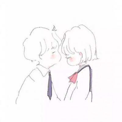 简笔画情侣头像可爱_WWW.QQYA.COM