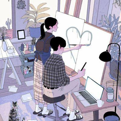 情侣日常插画图片头像_WWW.QQYA.COM