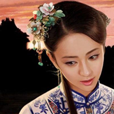 油画版动漫手绘古装美女头像图片_WWW.QQYA.COM