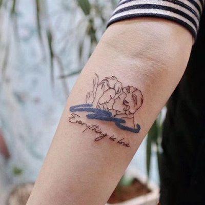 ins简笔画纹身彩色小清新纹身微信头像图片_WWW.QQYA.COM