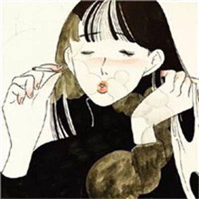 卡通抽烟头像女生_WWW.QQYA.COM