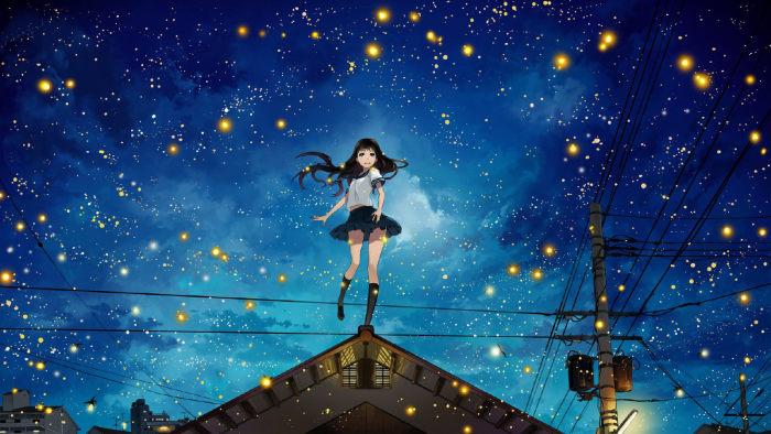 星空下的女孩动漫图片_WWW.QQYA.COM